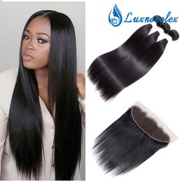 $enCountryForm.capitalKeyWord NZ - 13x4 Lace Frontal Closure With Bundles Brazilian Straight Virgin Hair Bundles With Closure Natural Black Remy Hair Weave Free Shipping