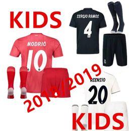 314965df8 2018 2019 Real Madrid RONALDO kids soccer jerseys sets with socks boys  child kits 18 19 Home White Third JAMES BALE football shirts