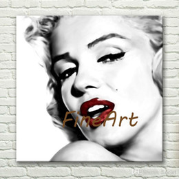 art deco landscape paintings Canada - hand painted wholesale marilyn monroe painting on white ground black and white paintings on canvas art deco paintings sale
