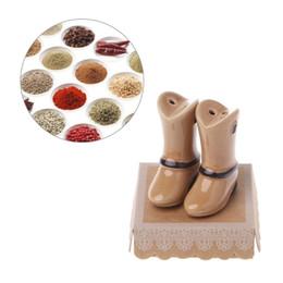 $enCountryForm.capitalKeyWord NZ - Salt Spice Pepper Shaker Cumin Servers Ceramic Brown Shoes Shape Seasoning Pot Cooking Tableware Cumin Powder Box Kitchen Tool