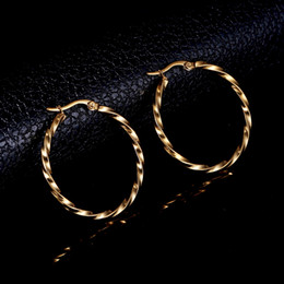 Plain earrings online shopping - Classic OL Style Stainless Steel Gold Silver Hoop Earrings for Women Simple Plain Design Statement Earrings Gifts