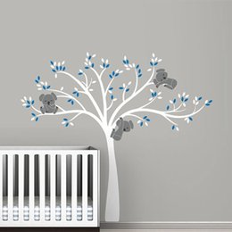 Tree Sticker For Blue Wall Australia - oversized Large Koala Tree Wall Decals for baby nursery vinyl wall stickers room decoration free shipping