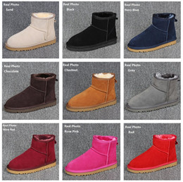Gold chain print fabric online shopping - 2018 new Women Snow Boots Australian Style Cow Suede Leather Waterproof Winter Warm Ankle Boots Brand Ivg Colors Plus Size US3 Ugs