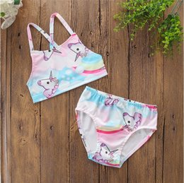 Swimwear Infant Canada - Baby Girls Swimwear Kids Girls Two Pieces Rainbow Unicorn Swimsuit bikini infant Swimwear Bathing Beachwear kids bath suit
