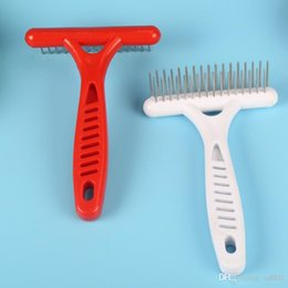 Wholesale Pet Rake Shape Dematting Comb Double Row Stainless Steel Needle Grooming Brush Soft Touch Dog Cat Hair Trimmer Portable ad ZZ