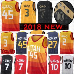 Youth Men Utah 45 Donovan Mitchell Jazz 10 Demar DeRozan 3 Ricky Rubio  Jersey 27 Rudy Gobert 7 Kyle Lowry 2 Joe Ingles 32 Malone 12 Stockton 74389c5fe