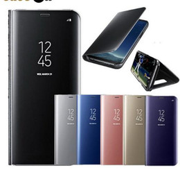 flip cover for samsung galaxy view UK - For Samsung Galaxy S9 Plus S8 S7 A8 2018 Huawei P20 Lite Case Luxury Flip Stand Clear View Smart Mirror Cover For iphone X 8 7 6