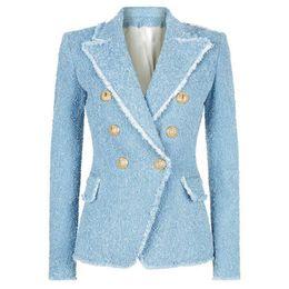 e4739046225 Твидовые куртки онлайн-HIGH STREET новая мода 2018 дизайнер блейзер женщин двубортный  Лев кнопки кисточкой