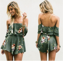 Wholesale Fashion Wear Green Printed Jumpsuits Sexy Comfort Fit Shorts Pant Slash Neck Backless Girls New Style Dress