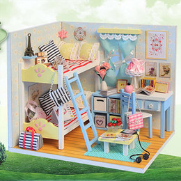 wooden doll house handmade NZ - Small DIY Dollhouse 3D Wooden Mini Doll House Lifelike Handmade Miniature Dollhouses Kit Toys for Children Girls Xmas Gifts