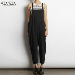 b2be5c1668 2018 Summer ZANZEA Women Solid Long Jumpsuit Strappy Sleeveless Loose Casual  Cotton Linen Bib Overalls Party Rompers Oversized oversized jumpsuits  promotion
