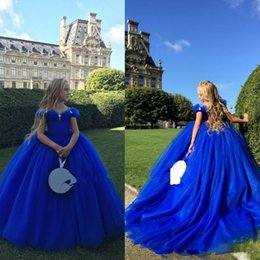 Short purple lace Special occaSion dreSSeS online shopping - Royal Blue Off The Shoulder Cinderella Flower Girl Dresses For Weddings Crystals Kids Ball Gowns Special Occasion Pageant Communion Dress