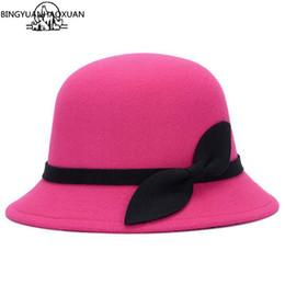 BINGYUANHAOXUAN 2017 Hot Lady Hat Women s Felt Hat Fashion Bowknot Wool Felt  Welding Retro Wholesale Hats f251acff76c3