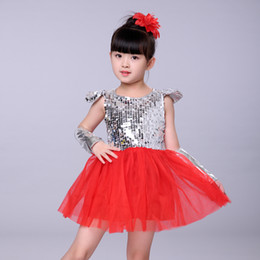 Costumes For Modern Dance NZ - Jazz Dance Costumes For Girls Sequined Pink White Red Yellow Kids Modern Performance Stage Costumes Contemporary Princess Dress