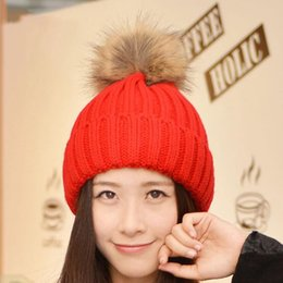 8fc47b6aed1e2 2016 Women Spring Winter Hats Beanies Knitted Cap Crochet Hat Rabbit Fur  Pompons Ear Protect Casual Cap Chapeu Feminino