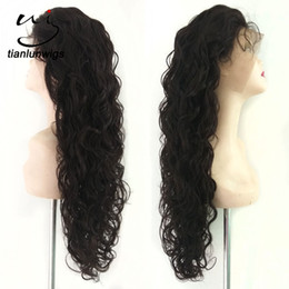 cheap human hair lace fronts UK - Cheap price Brazilian natural hairline hair wigs large in stock wholesale Virgin human hair loose wave full lace wig For Women