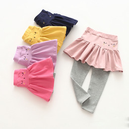 Denim style for babies online shopping - Cute cartoon kitten girl skirt pants fake two pieces cotton spring and autumn pants female baby leggings skirt for colors