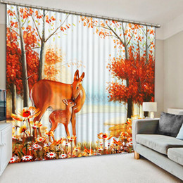 curtain painting UK - 3D Cortina Blackout Stereoscopic Animal oil Painting forest Window Curtain Living room Blackout Curtain