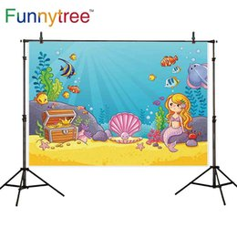 Wholesale Photography Backdrops Cartoon Seabed Mermaid Shell Seaweed Summer Treasure Children Background Wallpaper