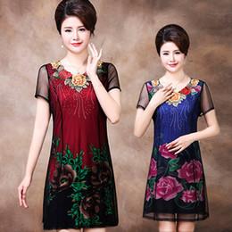 Mother Asymmetrical Dress NZ - 2018 summer new middle-aged dress mother dress women's middle-aged women 40-50 large size skirt