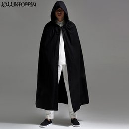 Wholesale cape coat men black resale online - Men Hooded Cloak Long Style Trench Jacket Linen Coat Open Placket Halloween Costumes Mens Cape Black Navy Blue