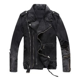 China New Fashion Hi Street Mens Ripped Denim Jackets With Multi Zippers Streetwear Distressed Motorcycle Biker Jeans Jacket supplier jean motorcycle jacket suppliers