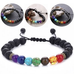 yoga bracelets Canada - 2018 Charms 7 Chakra Bracelets Natural Lava Stone Bracelet Adjustable 8mm Energy Yoga Healing Beads Fashion Jewelry Gift 3 Styles D238S F
