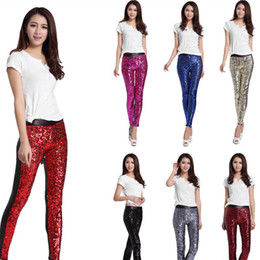 Wholesale gold sequin trousers resale online - Trendy Red Gold Silver Sequins Front PU Leggings pants Autumn Winter Imitation Leather Pencil Pants Long Trousers