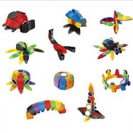 RubbeR sheet wholesale online shopping - Mix Colorful Intelligence Toys Jigsaw Puzzle Suit Flexible Magnetic Blocks Sheet Metal Children Construction Kit Improve Creativity xt W
