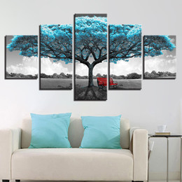 abstract art landscape NZ - Canvas Prints Paintings Framework Living Room Decor 5 Pieces Blue Big Tree Red Chair Pictures Abstract Landscape Poster Wall Art
