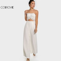 9610c237611e COLROVIE White Crochet Cut Out Strapless Jumpsuit Women Sleeveless Mid  Waist Pleated Jumpsuit 2018 Zipper Sexy Party Jumpsuit Y1891807