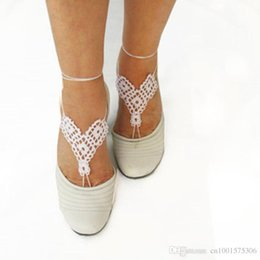 Wholesale Women Crochet Triangles Shoes Handmade Design Shoes Sexy White Sandals Beach Wedding Trending Yoga Shoes