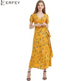 2cf302ad2645 LERFEY Boho Wrap Dress Summer Women Sexy Long Maxi Beach Dress Sash Bow Tie Floral  Print Casual Chiffon Dresses Retro VestidosY1882402