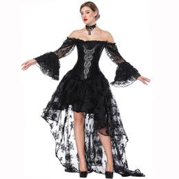 Wholesale victorian costumes women for sale – halloween Victorian Black Satin Corset Dress Sexy Women Bustiers Steampunk Clothing Long Skirts Costume Vintage Corset Set