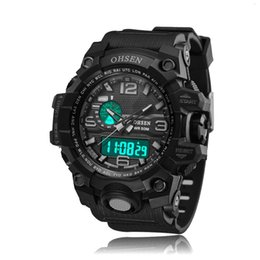 ohsen sports watches UK - OHSEN AD1606 Men Sports Watches Waterproof Alarm Chronograph LED Quartz Wristwatches Plastic Strap relogio masculino Water Resistant