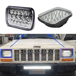45w work light UK - ECAHAYAKU 1 PCS 45W LED work light 7x6 inch Crystal Square High Low Beam H4 Projector led Headlights Cherokee Wrangler front light