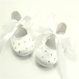 Christening Shoes NZ - Dollbling White Satin Christening Lace-up Princess  Baby Girls Shoes Handmade f1422c0b0b52