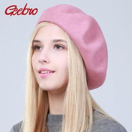 be94b1f607b95 Geebro Women s Cashmere Beret Hat Fashion Solid Candy Color Warm Wool Berets  for Women French Artist Beanie Beret Hats for Girls