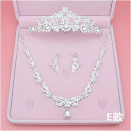 Jewelry Sets Rhinestone 925 Australia - Princess Bridal Accessories Sets Crystal Wedding Crown Earring Necklace Three Pieces Jewelry Wedding Accessories Princess Cheap In Stock