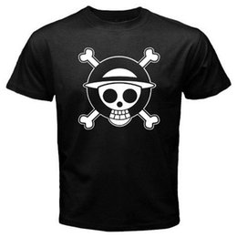 Discount pirates logos - New ONE PIECE Pirates Skull Logo Luffy Anime Men's Black T-Shirt Size S to 3XL