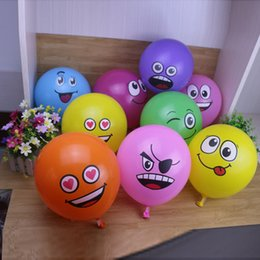 Discount smiley balloons 2018 100pcs 12 inch latex expression balloon New round cartoon children's toy smiley balloon 2.8g party decoration