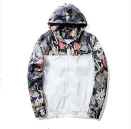 floral jacket wholesale NZ - Floral Jacket 2018 Autumn Mens Hooded Jackets Slim Fit Long Sleeve Homme Trendy Windbreaker Coat Clothing Drop Shipping