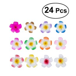 $enCountryForm.capitalKeyWord NZ - 24Pcs 2.4 Inch Hawaiian Plumeria Flower Hair Clip Foam Hair Accessory for Beach Party Wedding Event Decoration