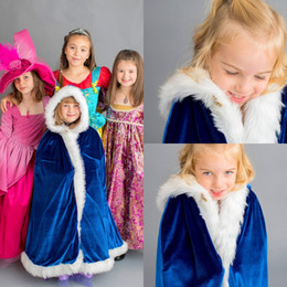 chinese fur fashions Canada - Royal Blue Long Girls Coat With Hoodie Fur Capes Warm Formal Wear Custom Made Kids Winter Outdoor Supplies