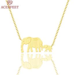 Discount baby links - ACEBFEET Vintage Elephant Pendant Necklace Clavicle Chain Animal Boho Choker Love Mama Baby Femme Kolye Collier Family J