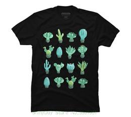 Magliette in cotone larghi per uomo Cool Tops Magliette in cotone Cacti Succulents Magliette grafiche uomo -