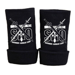 Sao coSplay online shopping - Fashion Anime Sword Art Online SAO Glove Winter Cartoon Half Finger Print Black Gloves Mitten Unisex Cosplay Gift