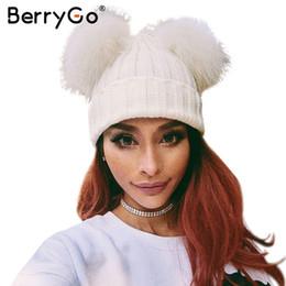 streetwear beanies 2019 - BerryGo Winter knitted fur pompom hat cap Women  autumn casual black skullies 344d39c1f65a