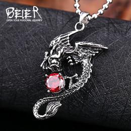 $enCountryForm.capitalKeyWord NZ - Beier new store 316L Stainless Steel pendant necklace vintage dragon pendant fashion chain men jewelry LLBP8-147R