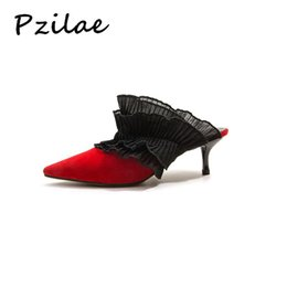 e8ef8b06a783 wholesale new design women pointed toe sandals high heel dress shoes lady  genuine leather slip on ruffles mules plus size 34-42